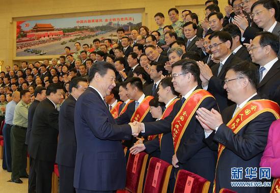 5月13日,�h和��家�I��人�近平、李克��、�⒃粕�、��高��等在北京���第七次全��人民防空���h代表。 新�A社�者 李�� �z