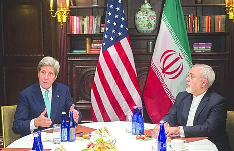 2016年4月22日,美国纽约,伊朗外长扎里夫访问美国,与美国务卿克里会面。