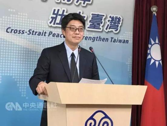 """(图为台湾""""陆委会""""发言人,也是他在宣称""""中国媒体造谣,新加坡没说反对台独"""")"""