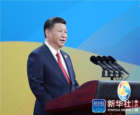 """2017年5月14日,習近平在北京出席""""一帶一路""""國際合作高峰論壇開幕式,并發表題為《攜手推進""""一帶一路""""建設》的主旨演講。新華社記者 馬占成 攝"""