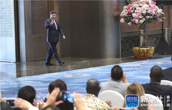 2017年9月5日,習近平在廈門國際會議中心會見中外記者,介紹金磚國家領導人第九次會晤和新興市場國家與發展中國家對話會情況。新華社記者 龐興雷 攝