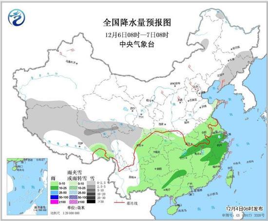 图3 全国降水量预报图(12月6日08时-7日08时)