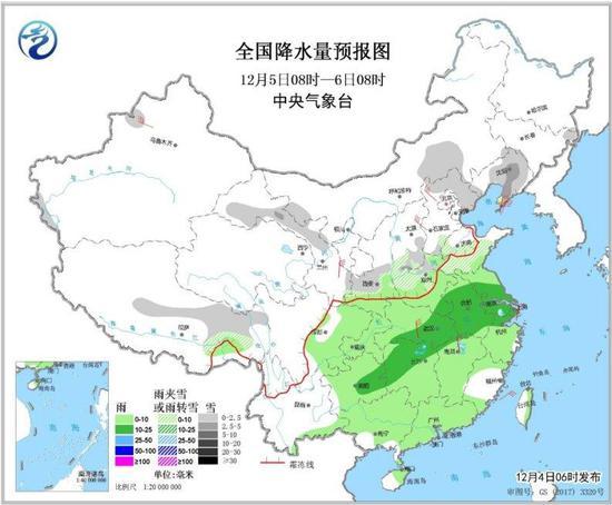 图2 全国降水量预报图(12月5日08时-6日08时)