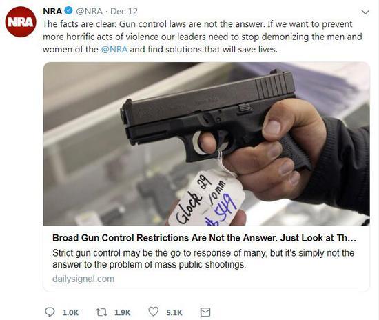 (美国全国步枪协会推特截图)