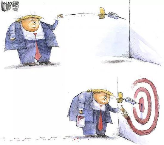 ▲[打哪指哪]特朗普先扔出关税飞镖,再拿着颜料在飞镖四周画上靶子。(美国《政治报》网站)