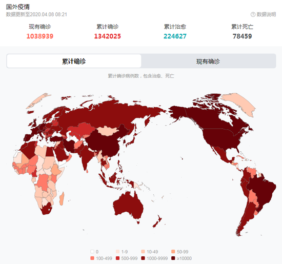 As of 8:21 on April 8, the development of foreign epidemic situation (Picture / Baidu)