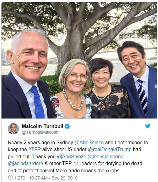 澳大利亚前总理特恩布尔发外推特,艾特美国总统特朗普。