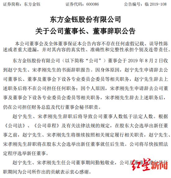 2019年08月05日东方金钰关于公司董事长、董事辞职公告