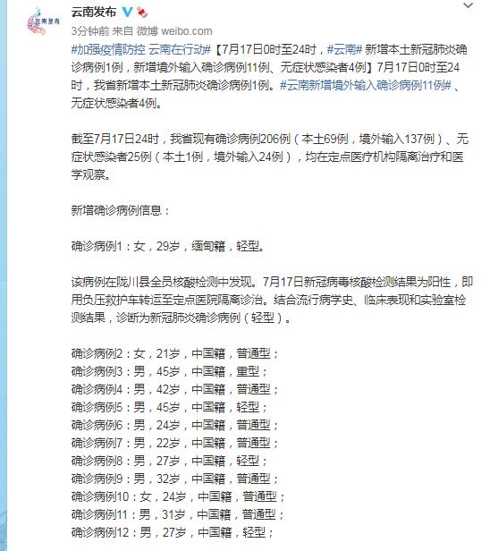 云南新增本土新冠肺炎确诊病例1例