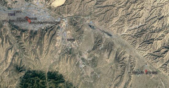 兰州大学两个校区位置的卫星图,图片来自于Google Earth