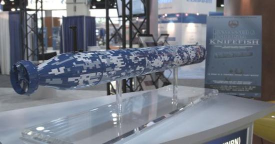 """资料图片:美国海军""""长刀鱼""""猎雷无人潜航器模型。(图片来源于网络)"""