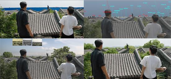 《邪不压正》北平城屋顶的替换过程。