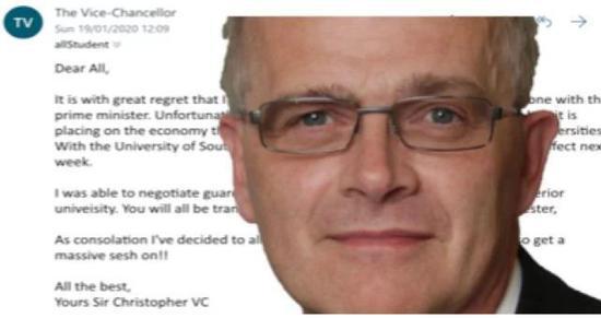 邮件签署人克里斯托弗·斯诺登爵士,是该校的前任副校长。图据南安普顿校报