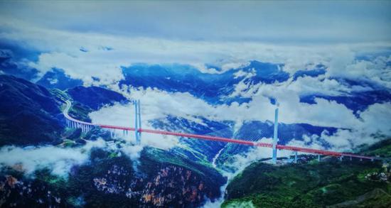 世界最高跨江大桥——贵州省北盘江特大公路桥。
