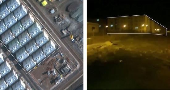 报道称,视频中修建与机场附近修建俯瞰图相反。来源:纽约时报