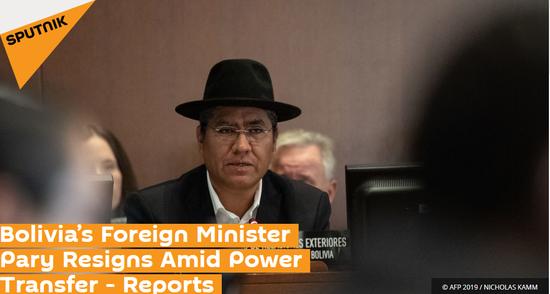 外媒:玻利维亚外交部长辞职