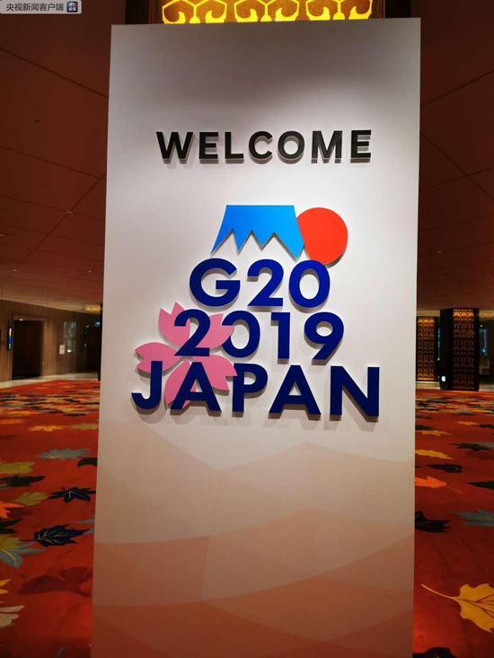 """新闻中心的G20峰会标志牌。标志由象征着日本的富士山、太阳和樱花等元素构成。富士山的""""山顶""""和""""朝日""""象征着增长和繁荣。山脚下,盛开的樱花代表着春天,寄托了人们对全球经济繁荣增长的美好期待(央视记者荆伟拍摄)"""