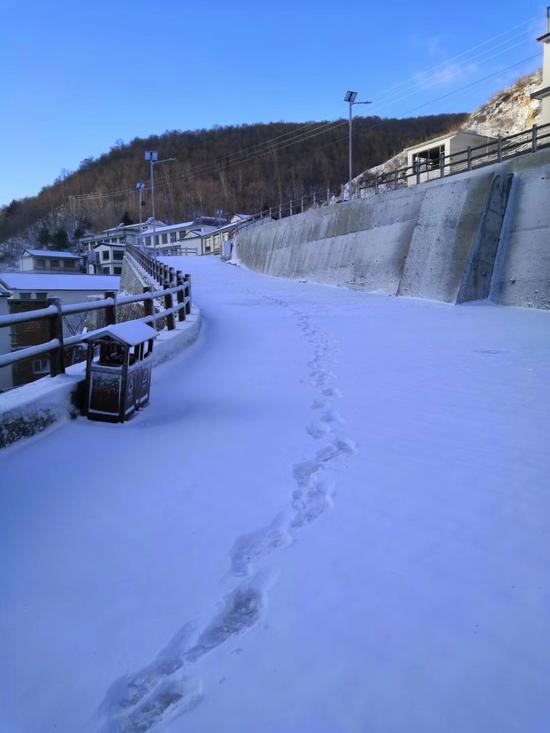 """昨天夜里,怀柔北部山区下起小雪,今早起来,远山戴上了薄薄的""""雪帽子""""。"""