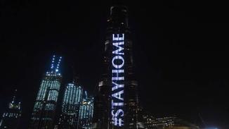 世界第一高楼亮灯呼吁民众呆在家里