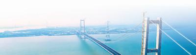 在粤港澳大湾区,跨越珠江口两岸的又一座大桥——南沙大桥。本报记者 贺林平摄