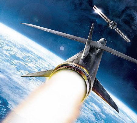 逆卫星导弹抨击卫星想象图。