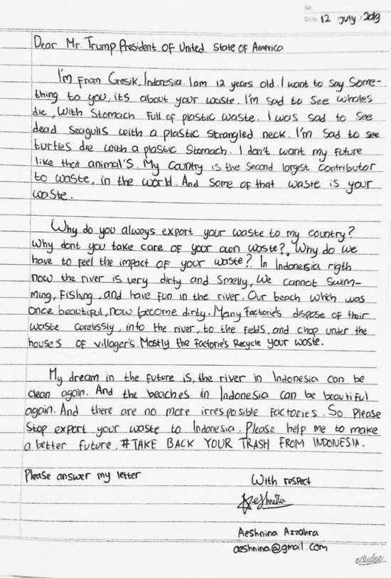 印尼12岁女孩致信特朗普:为啥把垃圾送到我的国家