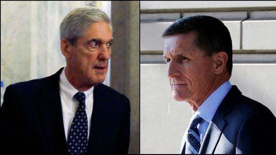 原料图:稀奇顾问罗伯特·米勒(左),前顾问迈克尔·弗林(右)