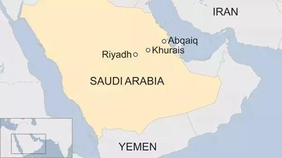 受袭击的Abqaiq 和 Khurais位置