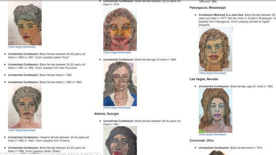 ▲FBI网站公布受害者手绘照片