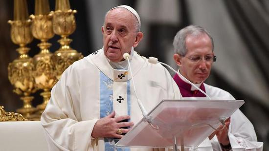 ▲教皇方济各在1日的新年弥撒上图/AFP/Getty