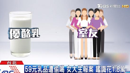 """台湾女生酸因奶被偷喝报案请求检验DNA(台湾""""TVBS""""截图)"""