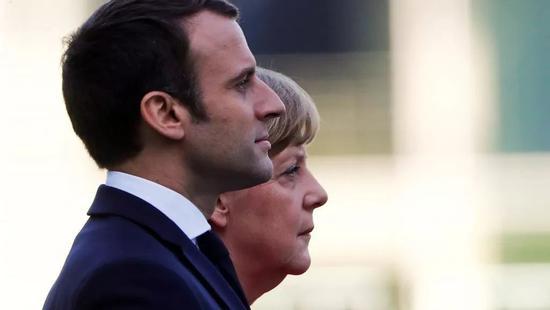 法国总统马克龙与德国总理默克尔