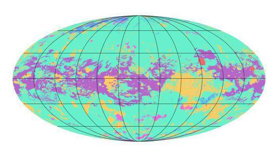 图为NASA公布的泰坦全球地质图。图片来源:NASA官网。