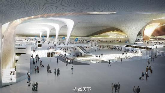 充滿現代感的大興機場室內設計圖(圖/微博@觀天下)