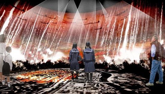 和平资料馆示意图:拟360度全息影像展示空袭历史(西日本新闻)