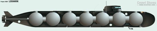 该潜水器艇身由数个半圆形钛质隔舱构成