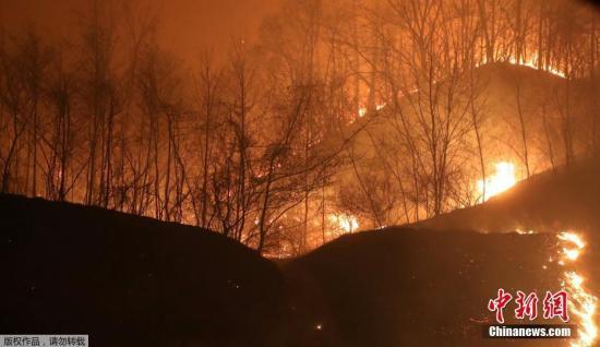 当地4月5日,韩国高城发生森林大火,山火沿着山脊蔓延。