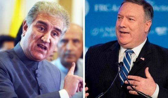 左为巴基斯坦外长库雷西,右为美国国务卿蓬佩奥 图片来源:法新社