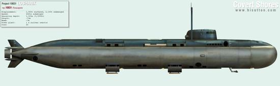 """外国情报机构根据推测绘制的""""AS-12""""号核动力深潜器侧面图"""