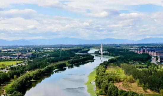 城市副中心大运河生态文明带温榆河段。图源:北京市规划和自然资源委员会