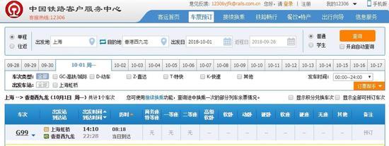 10月1日从上海虹桥到香港西九龙的高铁票已售罄
