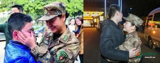 (左)2014年,11岁的儿子送宋彩萍参加援非抗埃任务。(右)2020年1月24日,除夕夜,17岁的儿子给即将奔赴武汉的妈妈一个紧紧的拥抱。