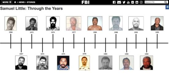 "▲""confessions of a killer""网站登出利特尔各个时期的犯罪收监照片"