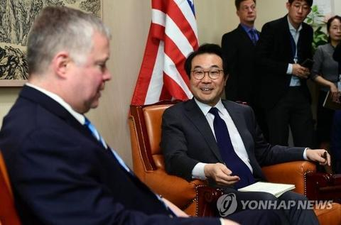 原料图:韩美涉朝做事组首次会议在华盛顿举走。(韩联社)
