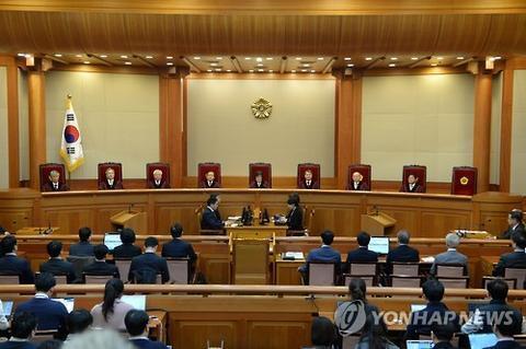 朴槿惠弹劾案审判现场。(韩联社)