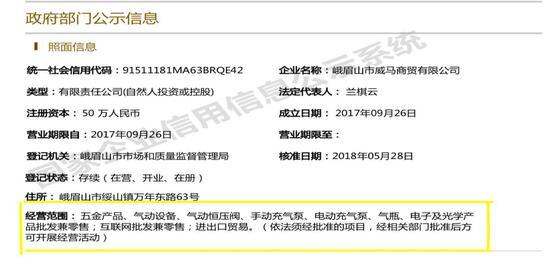 王永供职公司的工商资料截图