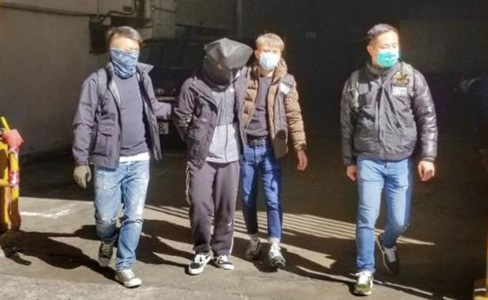 警方抓獲的一名涉案男子。來源:港媒