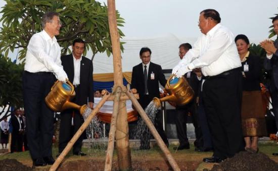 5日,韩国老挝领导人在湄公河边植树(韩联社)