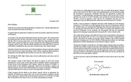 约翰逊写给议员们的信件截图。图源:视觉中国