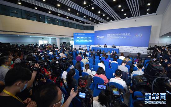 这是博鳌亚洲论坛2021年年会新闻发布会现场(4月18日摄)。新华社记者 郭程 摄
